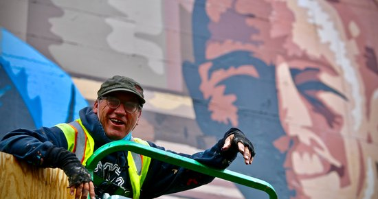 (PHOTOS) ART FIXED: Duane Flatmo Wraps Restoration Work on Downtown Eureka Mural