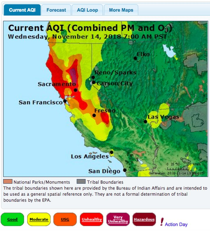 California Air Quality Map on