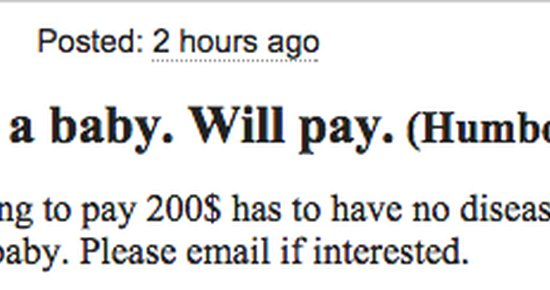 'Wanting Sperm For a Baby,' Reads Actual Craigslist Ad ...