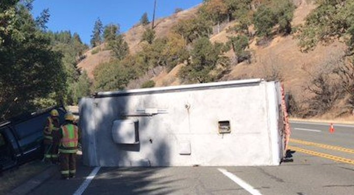 Overturned Trailer Causing Delays on Highway 101 in Northern Mendo