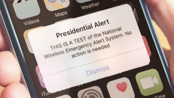 U.S.  'presidential test alert' sets American phones to buzzing