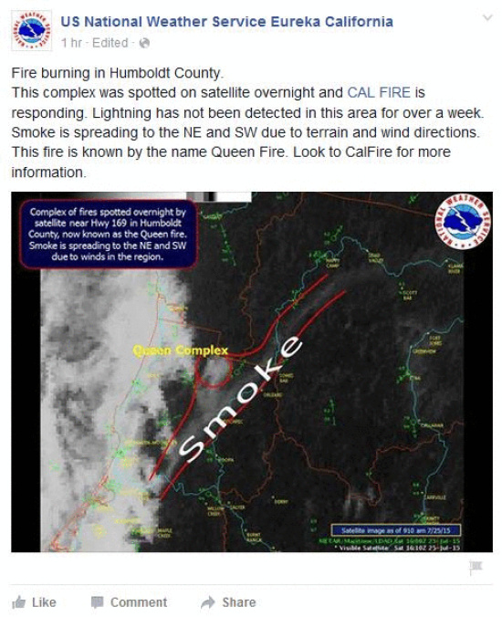 A Satellite Image Of The Queen Fire Taken From The Eureka U S National Weather Service S Facebook Page