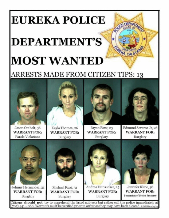 Mugshots Of The Most Wanted Eureka Police Poster Updated