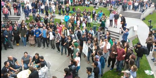 HSU students protest on UC Quad