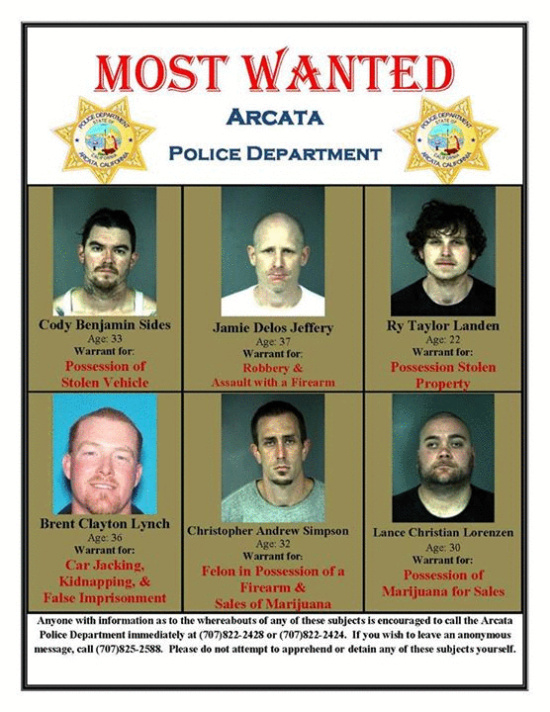 ... Police Department Most Wanted | Lost Coast Outpost | Humboldt County