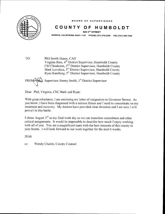 Supervisor Jimmy SmithS Resignation Letters  Lost Coast Outpost