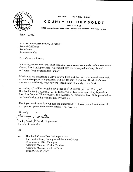 Supervisor Jimmy Smith'S Resignation Letters | Lost Coast Outpost