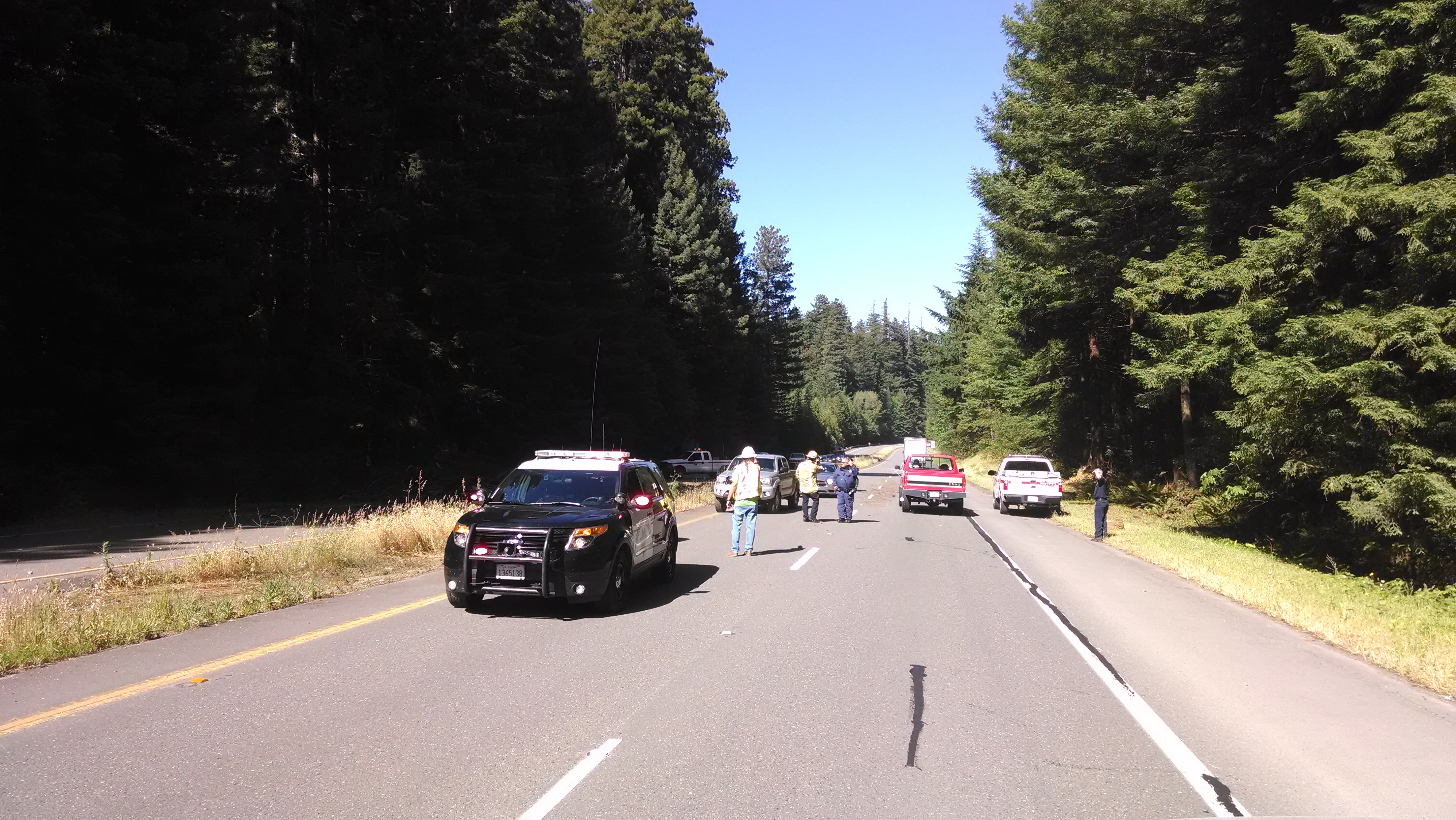 CHP stopped traffic as Caltrans crews looked at the situation. [Photo