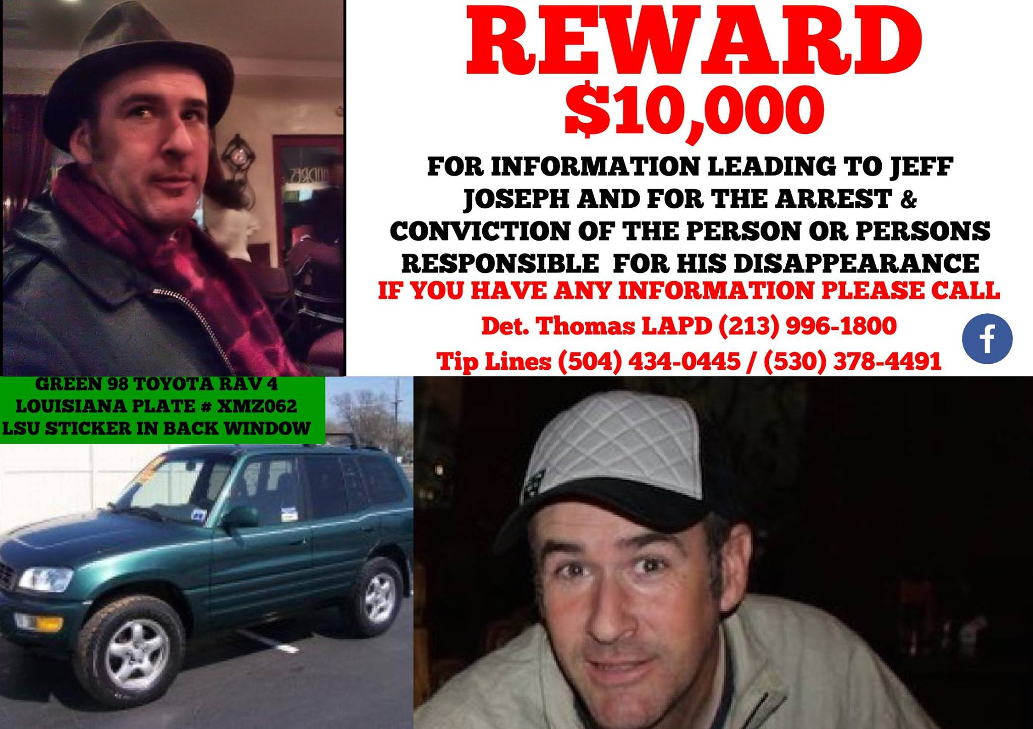 $10,000 Reward For Information About Missing Man Jeff Joseph  Lost Person Poster