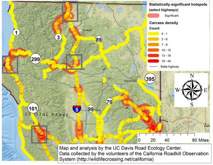 Map Beware Here Are Humboldt County S Roadkill Hot