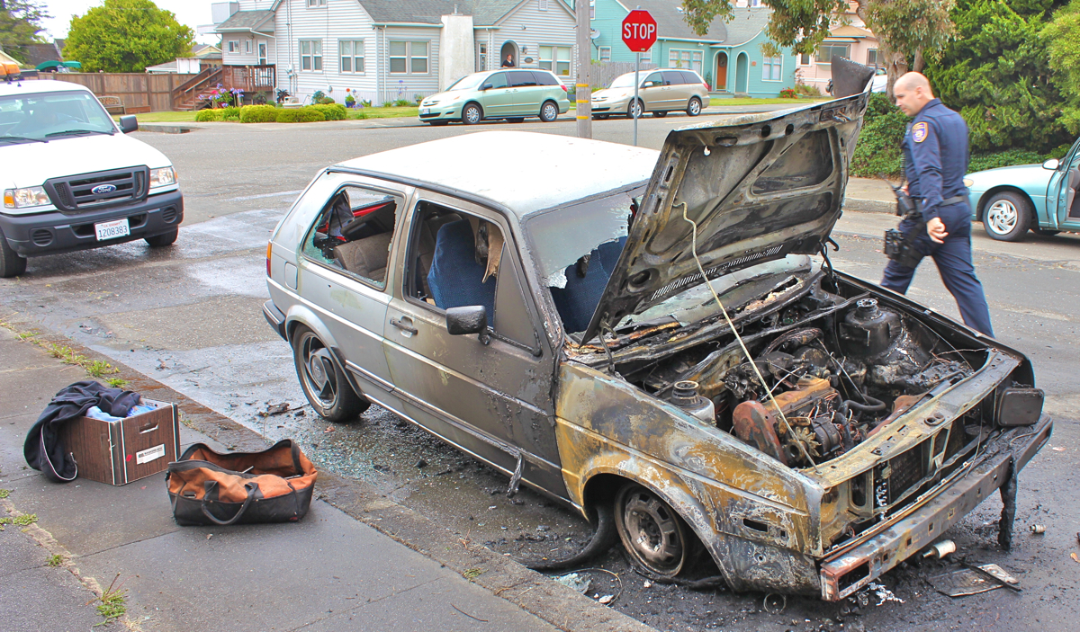 Humboldt Bay Fire responded to a call of a car on fire on Long Street